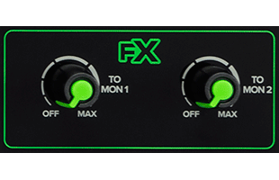 detail image of Mackie Onyx12 showing FX control knobs