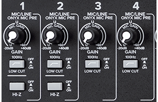 detail image of Mackie Onyx24 channel controls including low-cut and Hi-Z pushbutton switches
