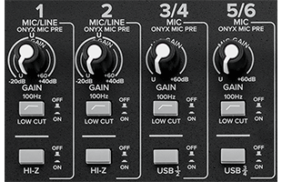 detail image of Mackie Onyx8 channel controls including low-cut and Hi-Z pushbutton switches