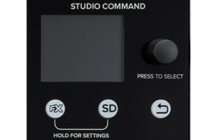 detali image of Mackie Onyx8 showing Studio Command screen and control section