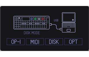 Teenage Engineering OP-1 screen showing COM mode