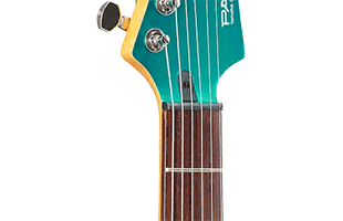 detail image of Yamaha Pacifica PAC600 series electric guitar fretboard and headstock showing Graph Tech TUSQ nut