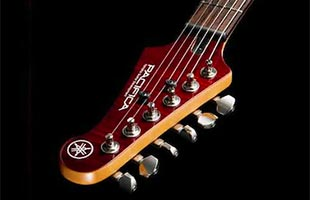 detail image of Yamaha Pacifica PAC600 series electric guitar headstock showing Grover locking tuners