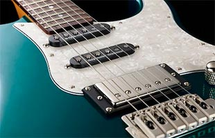 detail image of Yamaha Pacifica PAC600 series electric guitar showing Seymour Duncan pickups