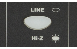 detail image of Fender Passport Event Series 2 control panel showing Hi-Z/line selector button