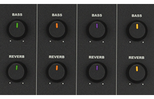 detail image of Fender Passport Event Series 2 mixer controls showing bass knobs and reverb knobs