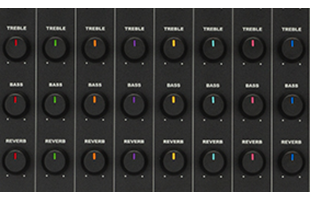 detail image of Fender Passport Venue Series 2 mixer control panel showing channel strip knobs