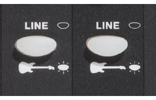 detail image of Fender Passport Venue Series 2 control panel showing instrument/line buttons