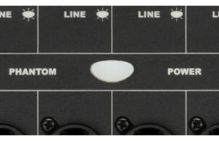 detail image of Fender Passport Venue Series 2 control panel showing phantom power button