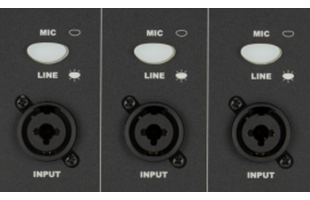 detail image of Fender Passport Conference Series 2 mixer showing combo inputs