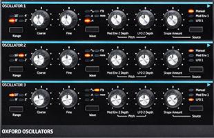 detail image of Novation Peak top panel showing oscillator controls