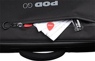 detail top view of Line 6 Pod Go Shoulder Bag showing handle and front pocket