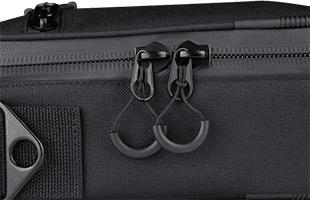 detail image of Line 6 Pod Go Shoulder Bag showing water-resistant zippers