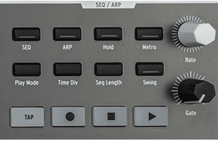 detail image of Arturia PolyBrute control panel showing sequencer and arpeggiator controls