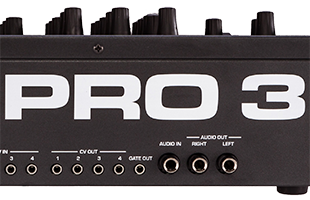 closeup of Sequential Pro 3 rear panel focusing on logo