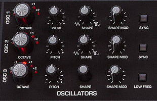 detail image of Sequential Pro 3 top panel showing oscillator controls
