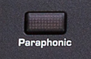 detail image of Sequential Pro 3 top panel showing button to engage paraphonic mode