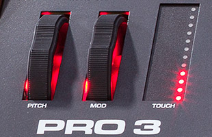 detail image of Sequential Pro 3 pitch bend, mod wheel and touch slider controls