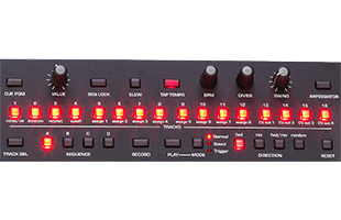 detail image of Sequential Pro 3 top panel showing sequencer controls