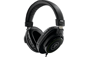 perspective image of Mackie MC-100 headphones showing front and right side