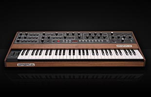 dramatic perspective view of Sequential Prophet-5 on black background showing top and front