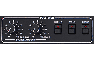 detail image of Sequential Prophet-10 panel showing POLY-MOD controls