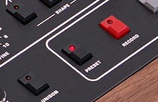 detail image of Sequential Prophet-10 panel showing PRESET button