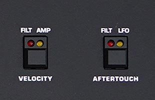 detail image of Sequential Prophet-10 panel showing velocity and aftertouch controls