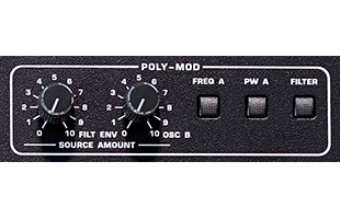 detail image of Sequential Prophet-5 Desktop Module panel showing POLY MOD section