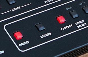 detail image of Sequential Prophet-5 Desktop Module panel showing preset storage controls