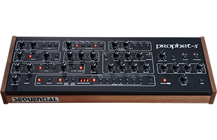 perspective view of Sequential Prophet-5 Desktop Module showing top and front