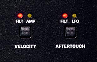 detail image of Sequential Prophet-5 Desktop Module panel showing VELOCITY and AFTERTOUCH controls