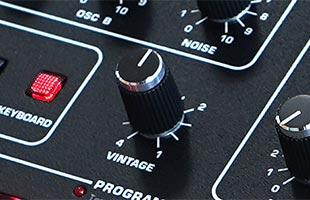 detail image of Sequential Prophet-5 Desktop Module panel showing VINTAGE knob
