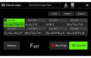 screen image from Yamaha PSR-A5000 showing Chord Looper setup interface