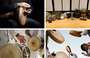 4-panel collage image representing variety of drum and percussion sounds included on Yamaha PSR-A5000