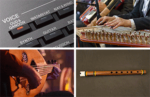 4-panel collage image representing variety of world instruments Voices included on Yamaha PSR-A5000
