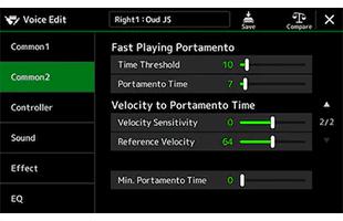 screen image from Yamaha PSR-A5000 showing portamento setup interface
