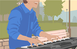 illustration of musician playing Yamaha PSR-I500 in outdoor park using battery power
