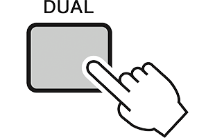 illustration of hand with extended index finger pressing DUAL button on Yamaha PSR-I500