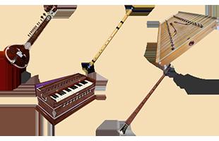 illustrations of Indian instruments including sitar, bansuri, santoor, harmonium and shehnai