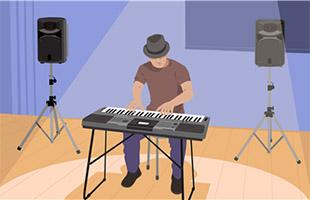 illustration of musician wearing hat on stage playing Yamaha PSR-I500