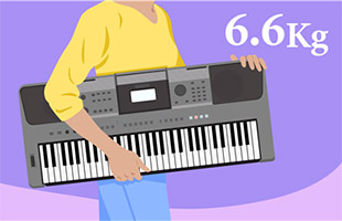 illustration of musician carrying Yamaha PSR-I500 with overlaid text indicating 6.6 Kg product weight