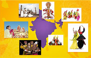 collage image of traditional Indian music performances clustered around outline map of India