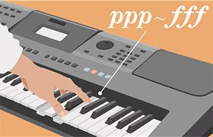 detail illustration of hand playing Yamaha PSR-I500