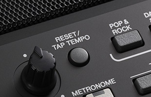 detail image of Yamaha PSR-SX600 panel showing RESET TAP TEMPO button