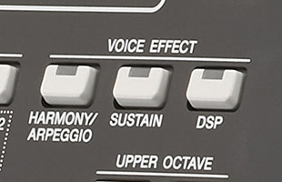 detail image of Yamaha PSR-SX600 panel showing VOICE EFFECT buttons including DSP button