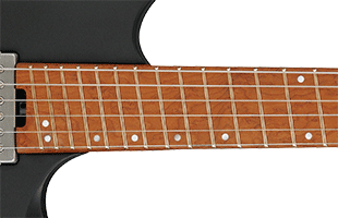 detail top view of Ibanez QX52 showing portion of fingerboard with slanted frets