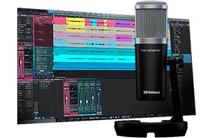 PreSonus Revelator microphone with screenshot from companion software in background