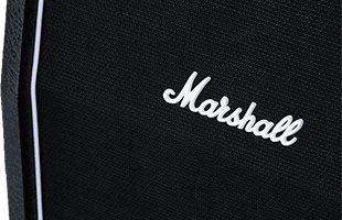 detail front image of Marshall SC212 showing speaker grille and Marshall logo