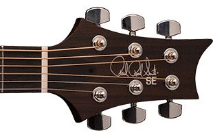 detail image of PRS SE A40E showing top of headstock